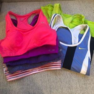 Tops - 5 sports bras and 2 tanks (Nike, Champion, Marika)